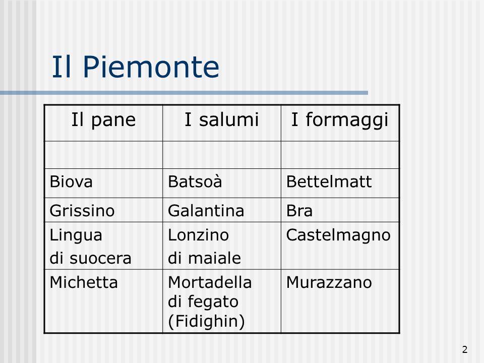 Il Piemonte Il pane I salumi I formaggi Biova Batsoà Bettelmatt