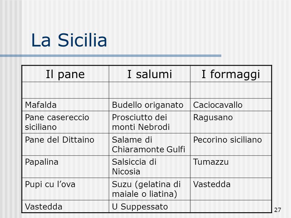 La Sicilia Il pane I salumi I formaggi Mafalda Budello origanato