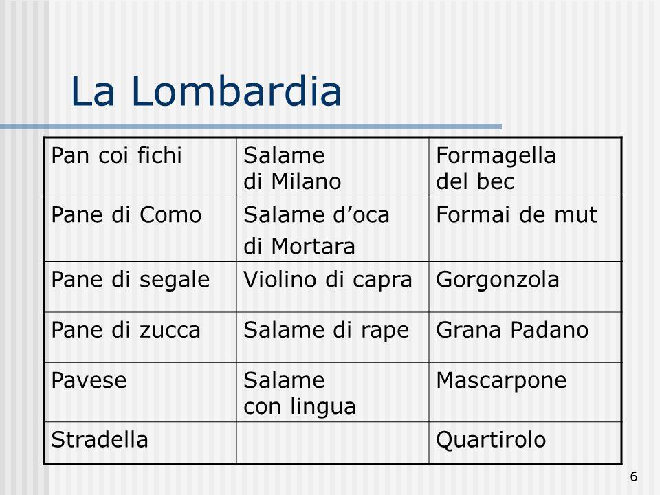 La Lombardia Pan coi fichi Salame di Milano Formagella del bec