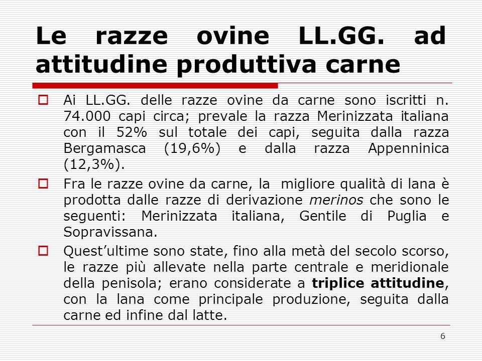 Le razze ovine LL.GG. ad attitudine produttiva carne