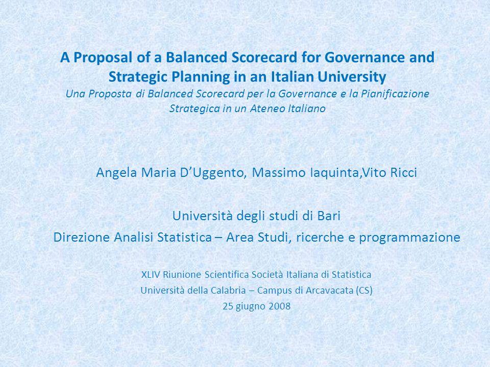 A Proposal of a Balanced Scorecard for Governance and Strategic Planning in an Italian University Una Proposta di Balanced Scorecard per la Governance e la Pianificazione Strategica in un Ateneo Italiano