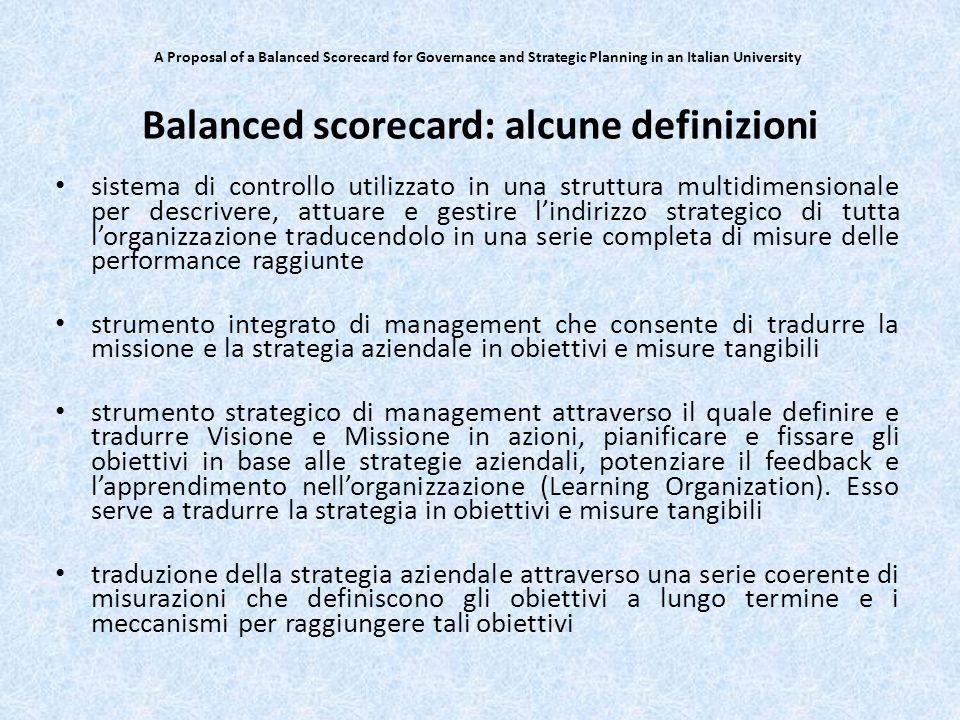 Balanced scorecard: alcune definizioni