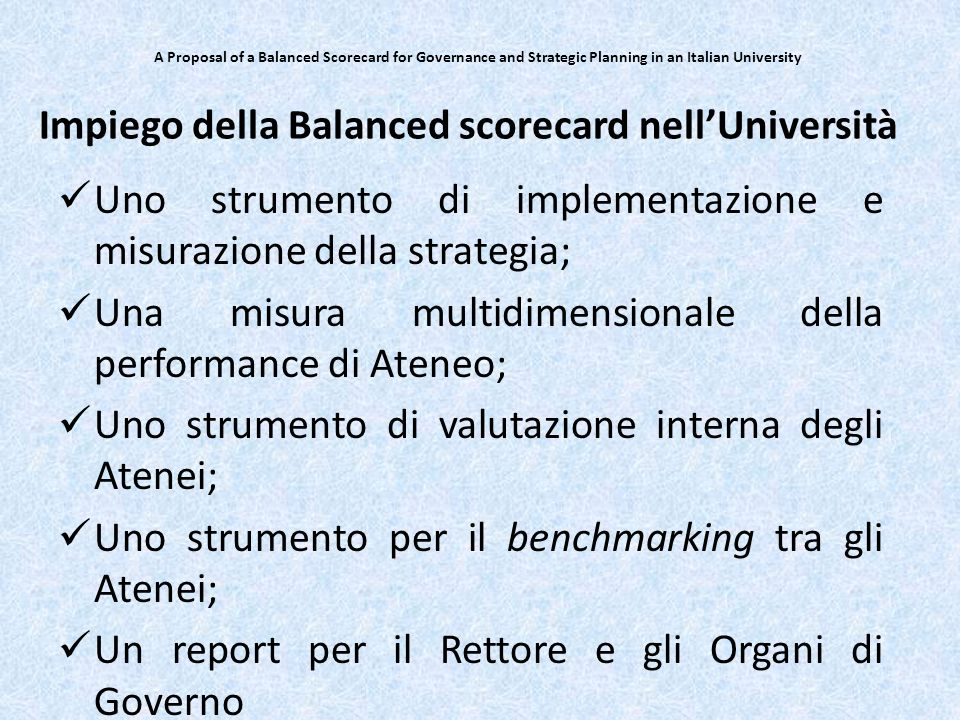Impiego della Balanced scorecard nell'Università