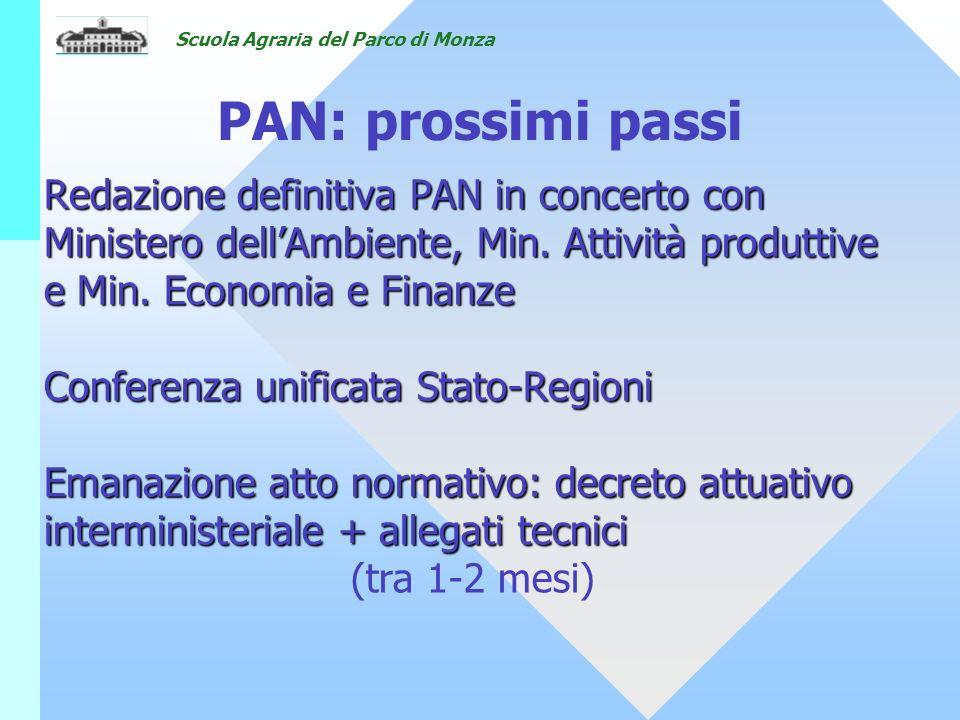 18/05/07 PAN: prossimi passi. Redazione definitiva PAN in concerto con Ministero dell'Ambiente, Min. Attività produttive e Min. Economia e Finanze.