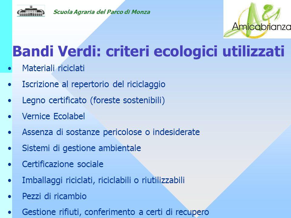 Bandi Verdi: criteri ecologici utilizzati