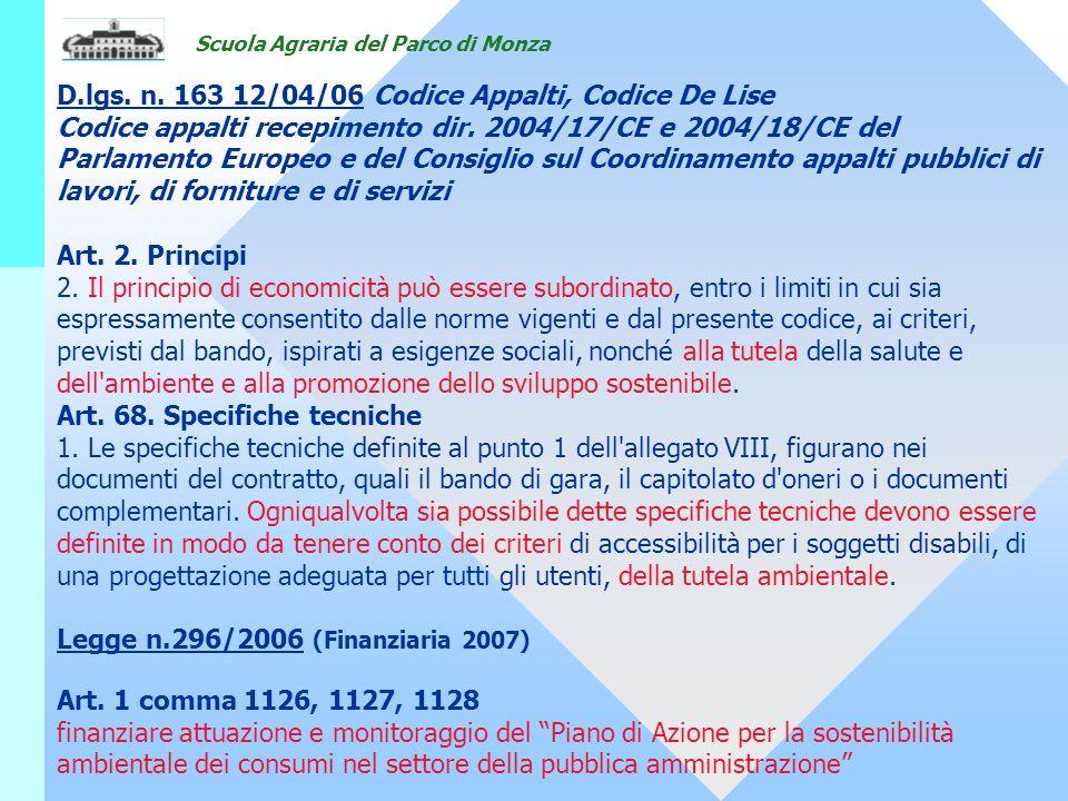 D.lgs. n. 163 12/04/06 Codice Appalti, Codice De Lise