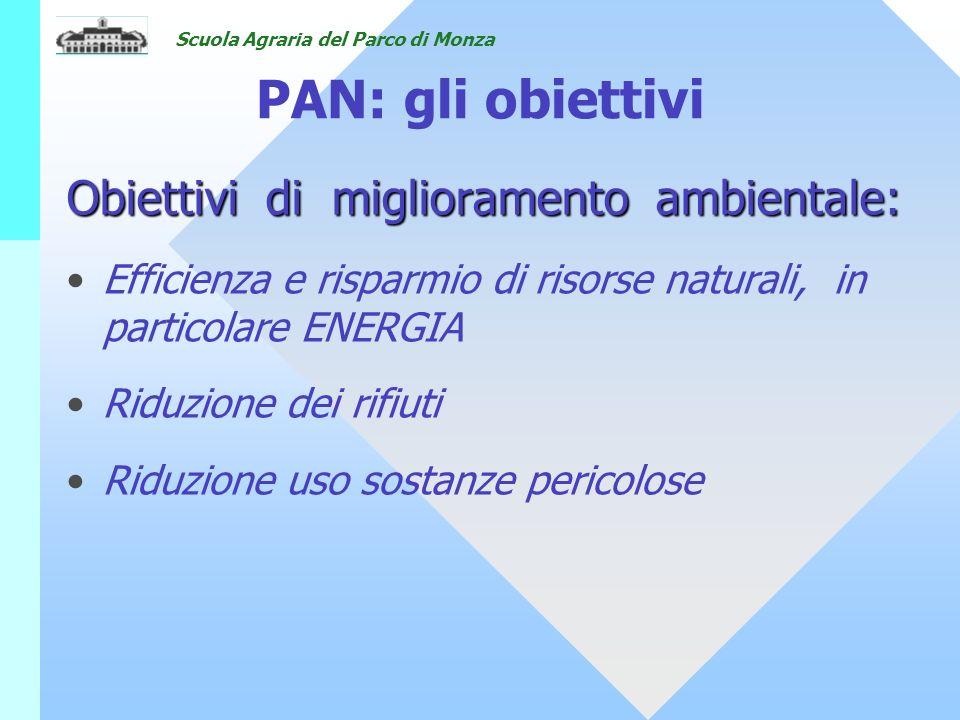 PAN: gli obiettivi Obiettivi di miglioramento ambientale: