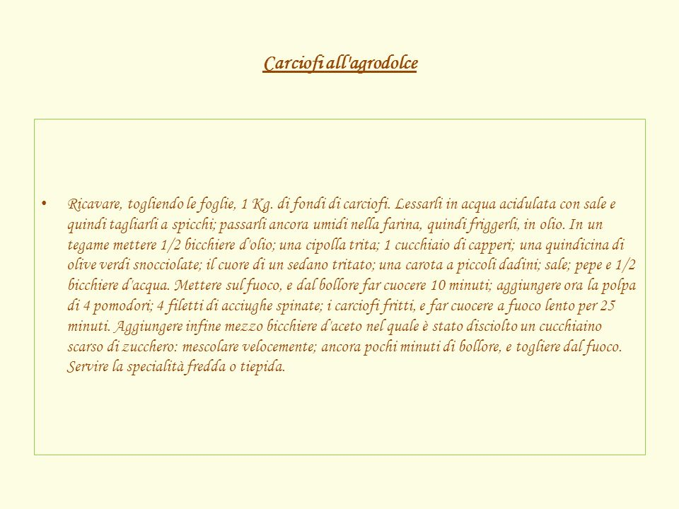 Carciofi all agrodolce