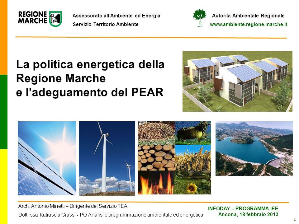 La politica energetica della Regione Marche e l'adeguamento del PEAR
