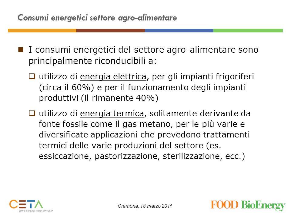 Consumi energetici settore agro-alimentare