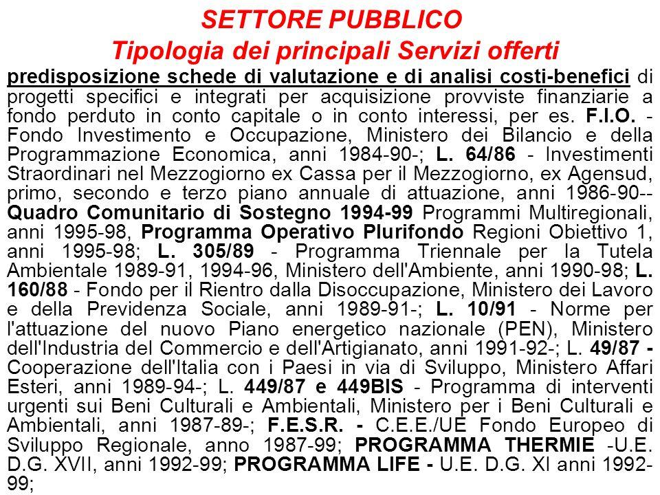 SETTORE PUBBLICO Tipologia dei principali Servizi offerti