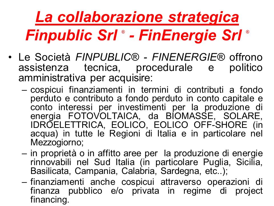 La collaborazione strategica Finpublic Srl ® - FinEnergie Srl ®