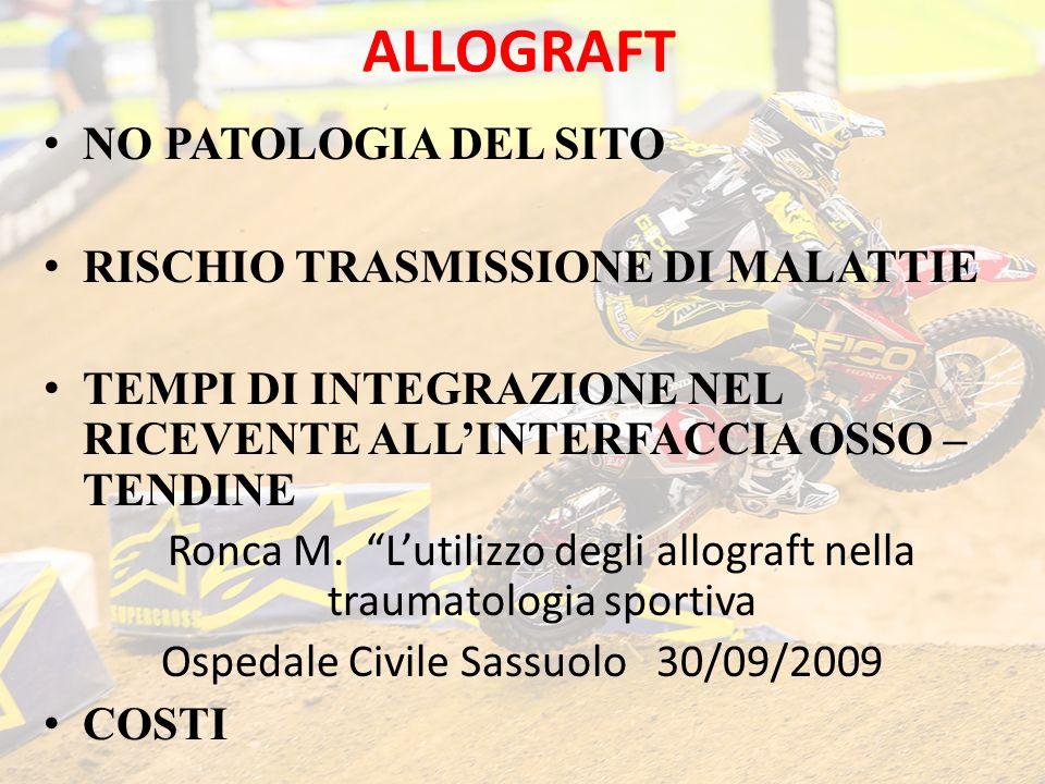 ALLOGRAFT NO PATOLOGIA DEL SITO RISCHIO TRASMISSIONE DI MALATTIE