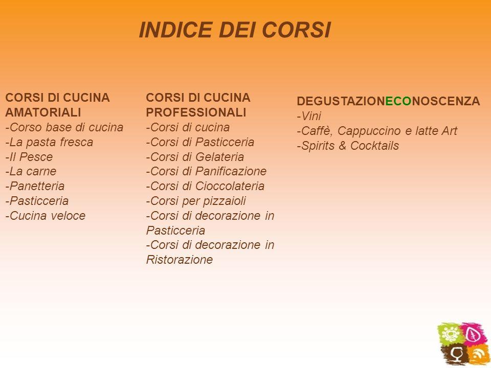INDICE DEI CORSI CORSI DI CUCINA AMATORIALI -Corso base di cucina