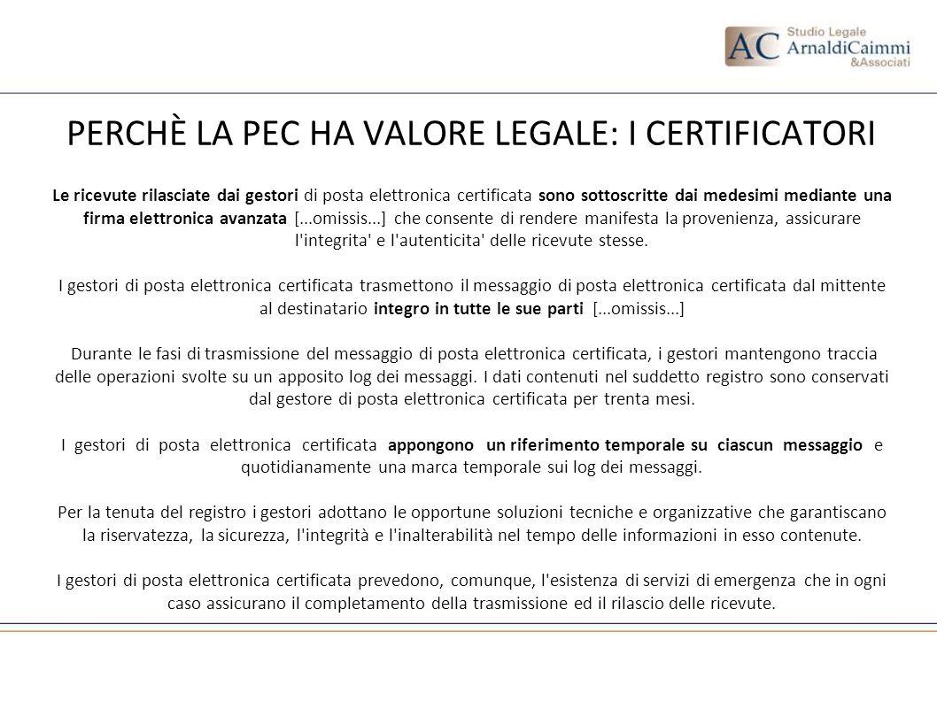 PERCHÈ LA PEC HA VALORE LEGALE: I CERTIFICATORI