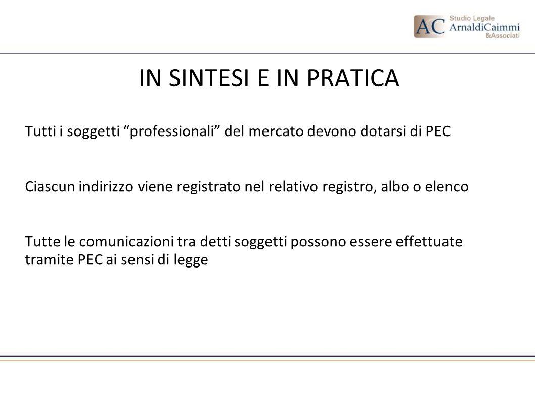 IN SINTESI E IN PRATICA Tutti i soggetti professionali del mercato devono dotarsi di PEC.
