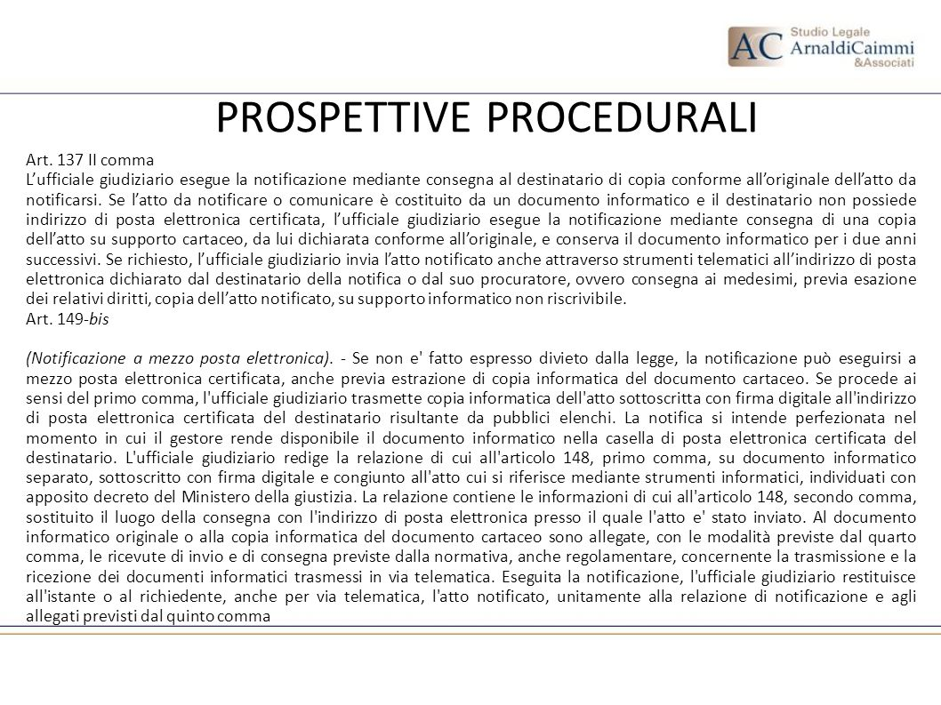 PROSPETTIVE PROCEDURALI