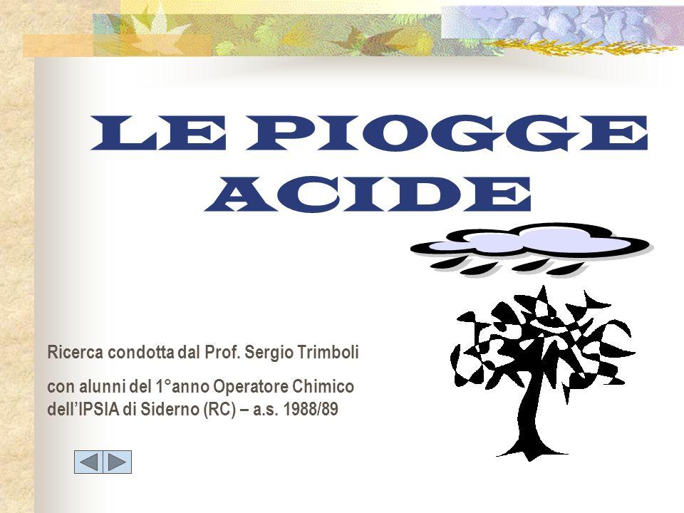 LE PIOGGE ACIDE Ricerca condotta dal Prof. Sergio Trimboli