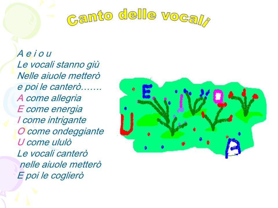 Canto delle vocali A e i o u Le vocali stanno giù Nelle aiuole metterò