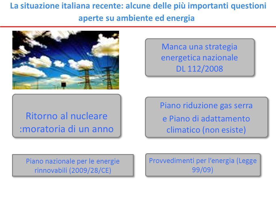 La situazione italiana recente: alcune delle più importanti questioni aperte su ambiente ed energia