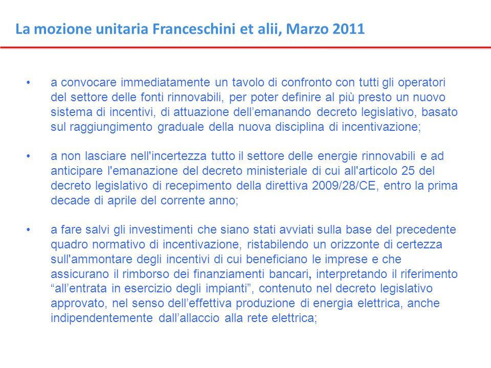 La mozione unitaria Franceschini et alii, Marzo 2011