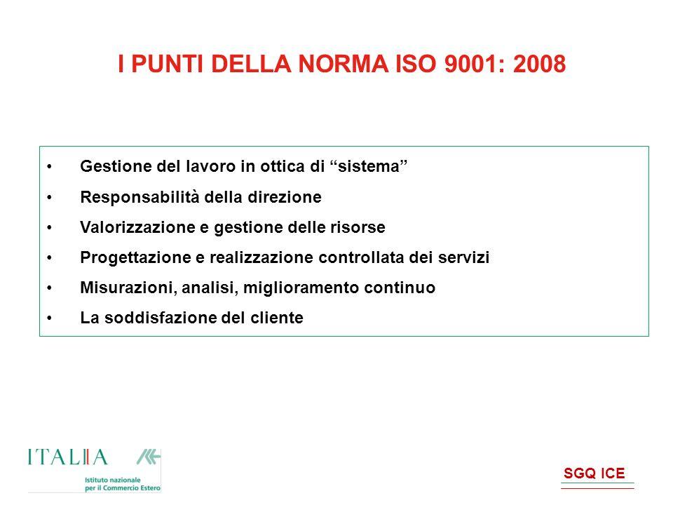 I PUNTI DELLA NORMA ISO 9001: 2008