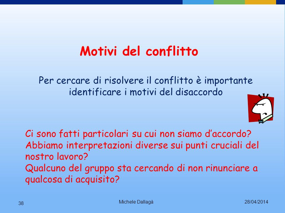 Motivi del conflitto Per cercare di risolvere il conflitto è importante identificare i motivi del disaccordo.