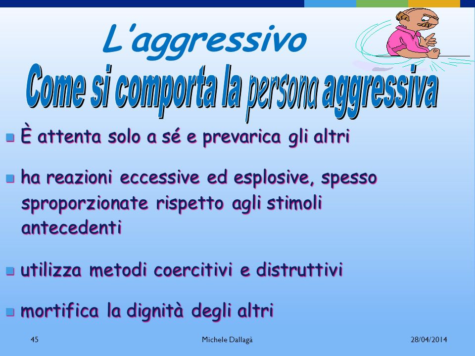 Come si comporta la persona aggressiva