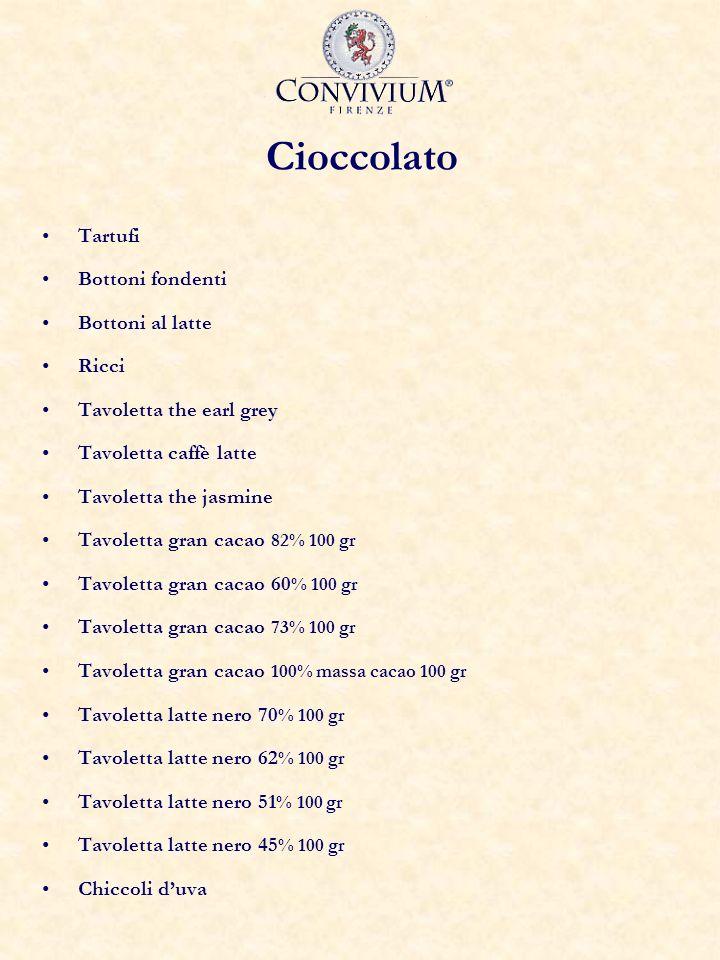 Cioccolato Tartufi Bottoni fondenti Bottoni al latte Ricci