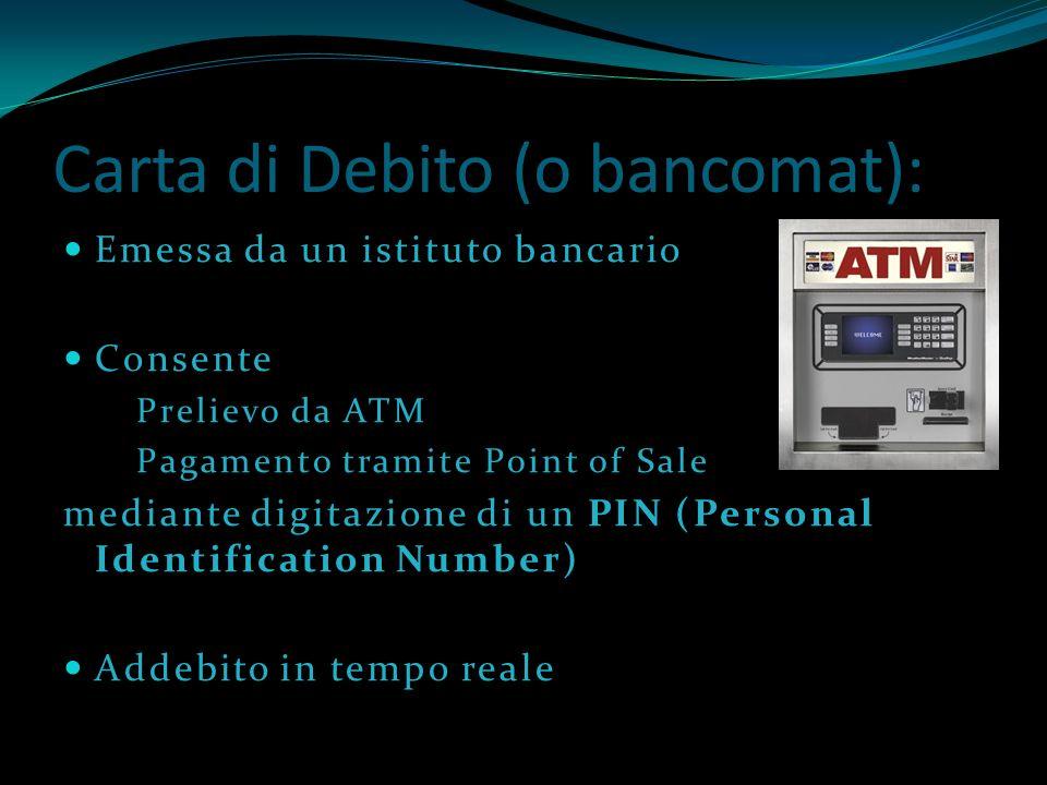 Carta di Debito (o bancomat):