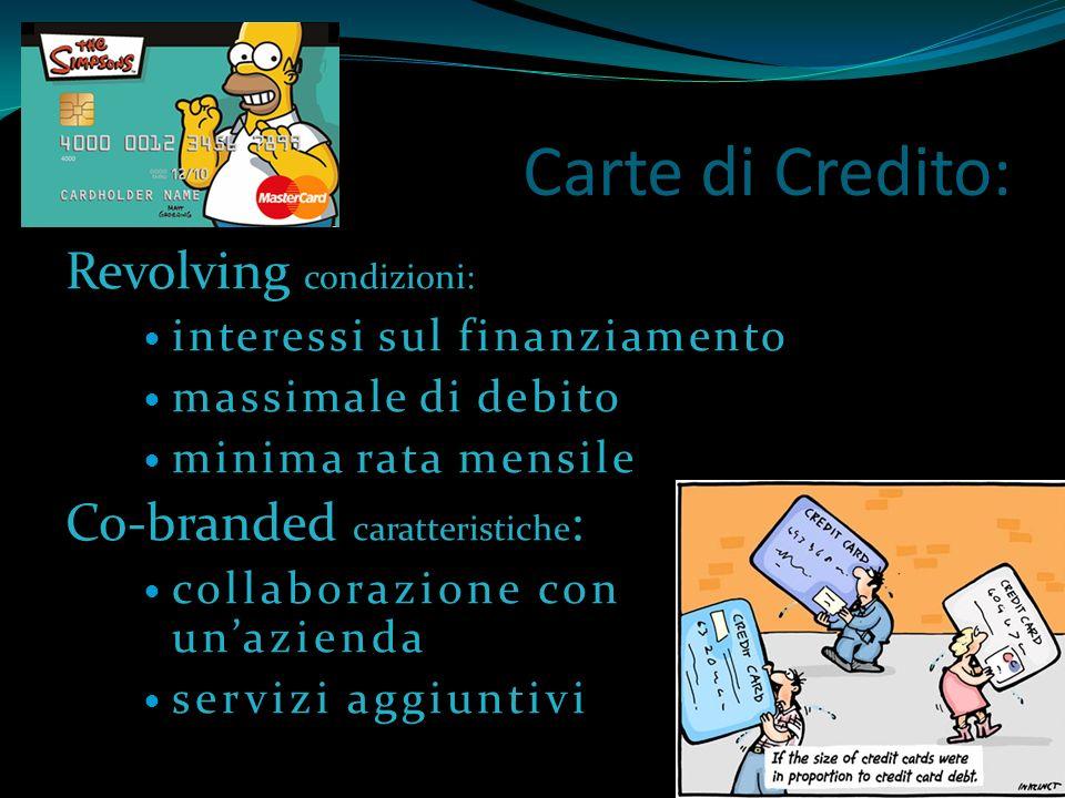 Carte di Credito: Revolving condizioni: Co-branded caratteristiche: