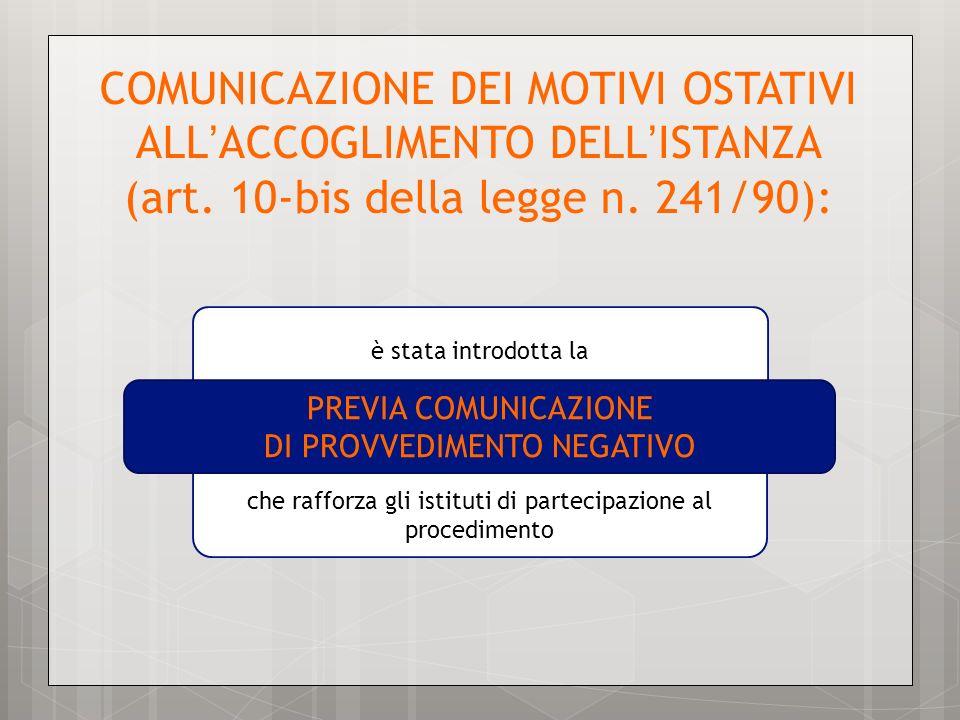 COMUNICAZIONE DEI MOTIVI OSTATIVI ALL'ACCOGLIMENTO DELL'ISTANZA (art