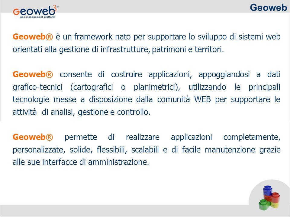 Geoweb Geoweb® è un framework nato per supportare lo sviluppo di sistemi web orientati alla gestione di infrastrutture, patrimoni e territori.