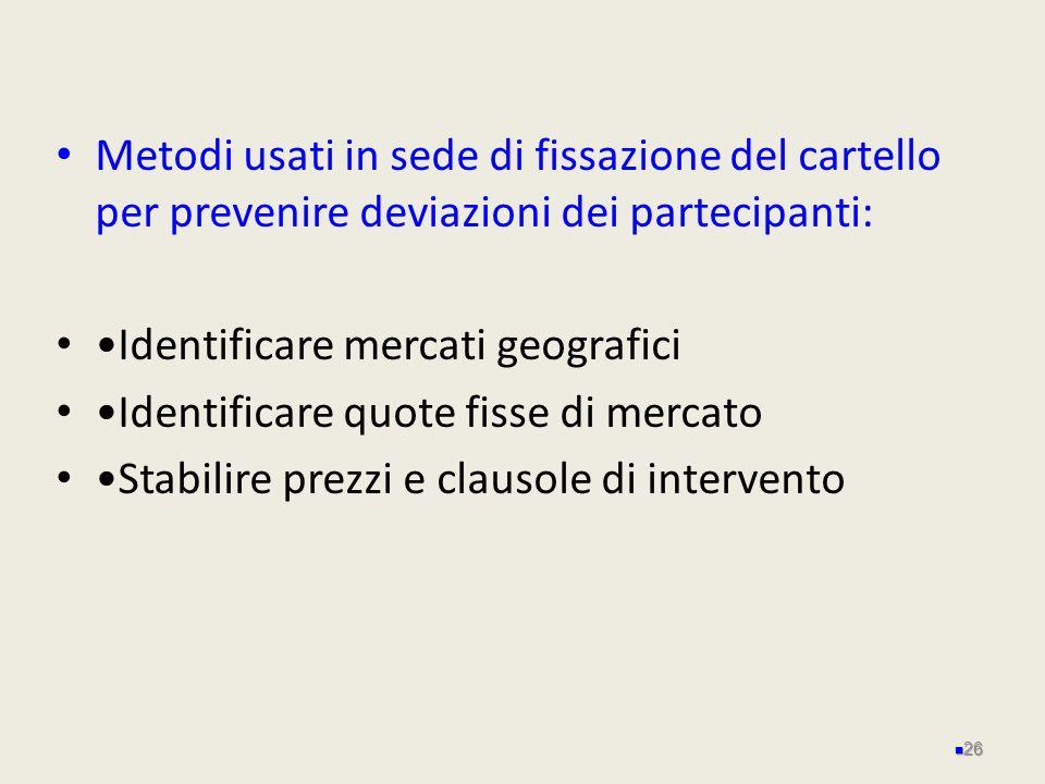 Metodi usati in sede di fissazione del cartello per prevenire deviazioni dei partecipanti: