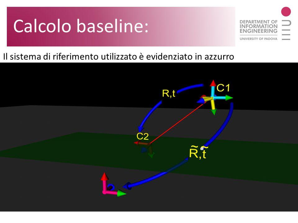 Calcolo baseline: Il sistema di riferimento utilizzato è evidenziato in azzurro