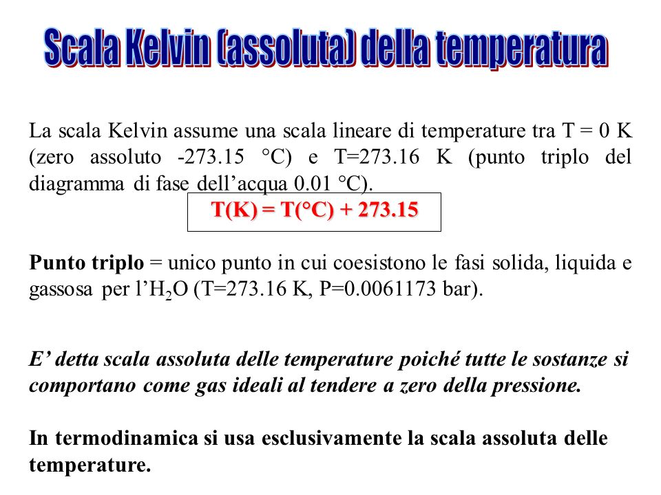 Scala Kelvin (assoluta) della temperatura