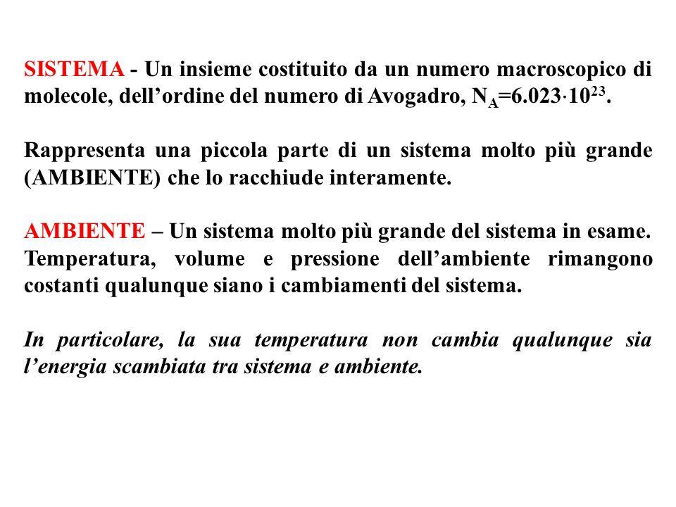 SISTEMA - Un insieme costituito da un numero macroscopico di molecole, dell'ordine del numero di Avogadro, NA=6.0231023.