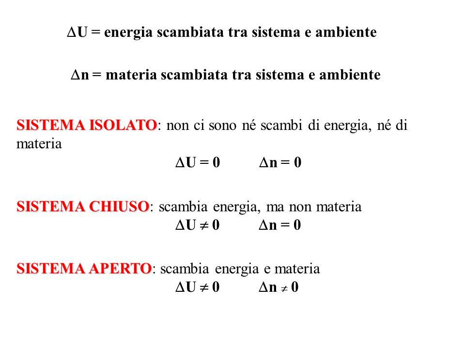 U = energia scambiata tra sistema e ambiente