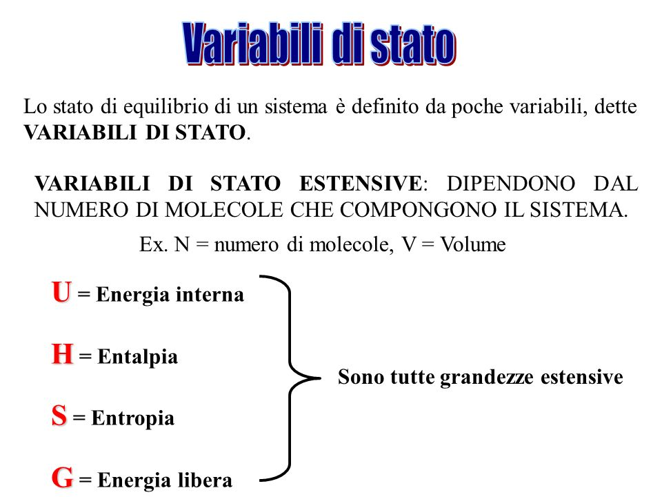 Variabili di stato U = Energia interna H = Entalpia S = Entropia