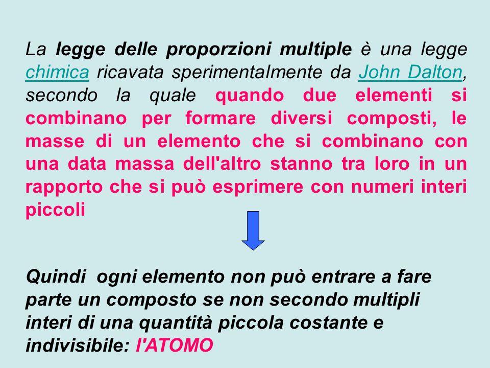 La legge delle proporzioni multiple è una legge chimica ricavata sperimentalmente da John Dalton, secondo la quale quando due elementi si combinano per formare diversi composti, le masse di un elemento che si combinano con una data massa dell altro stanno tra loro in un rapporto che si può esprimere con numeri interi piccoli