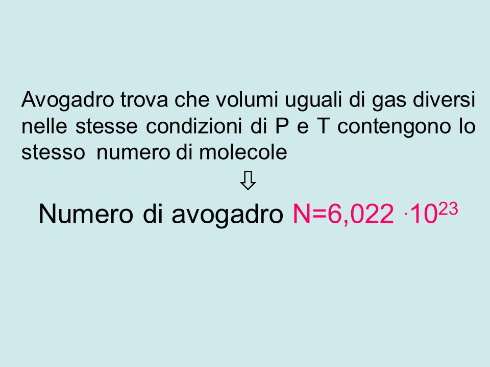 Avogadro trova che volumi uguali di gas diversi nelle stesse condizioni di P e T contengono lo stesso numero di molecole