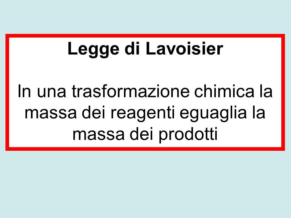 Legge di Lavoisier In una trasformazione chimica la massa dei reagenti eguaglia la massa dei prodotti.