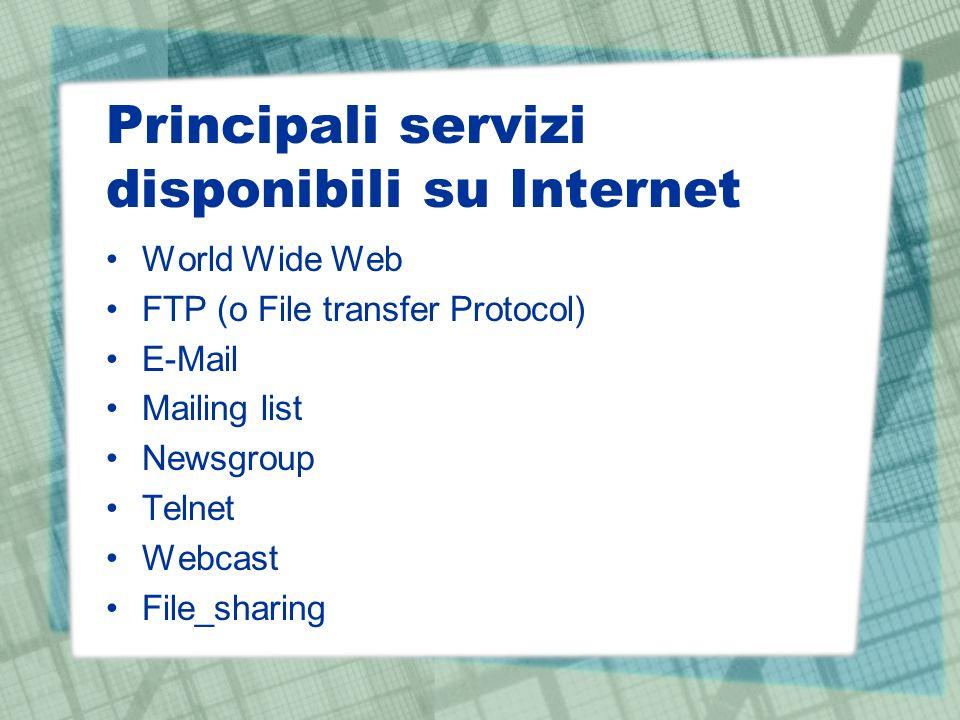 Principali servizi disponibili su Internet