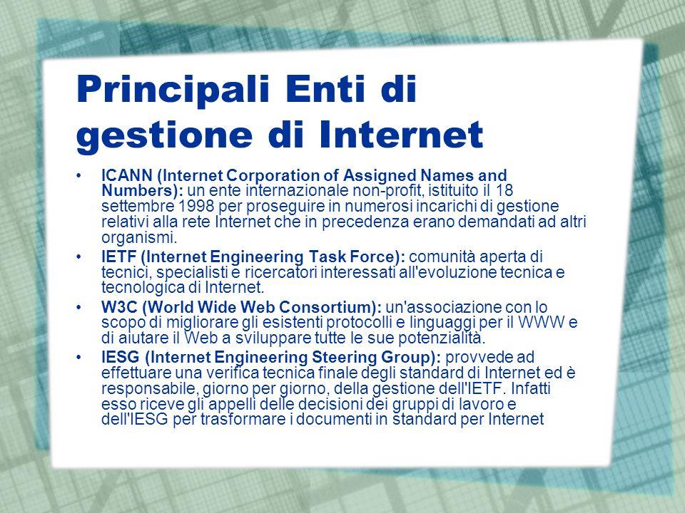 Principali Enti di gestione di Internet