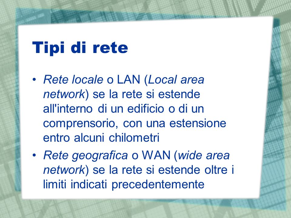 Tipi di rete