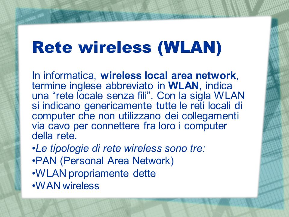 Rete wireless (WLAN)