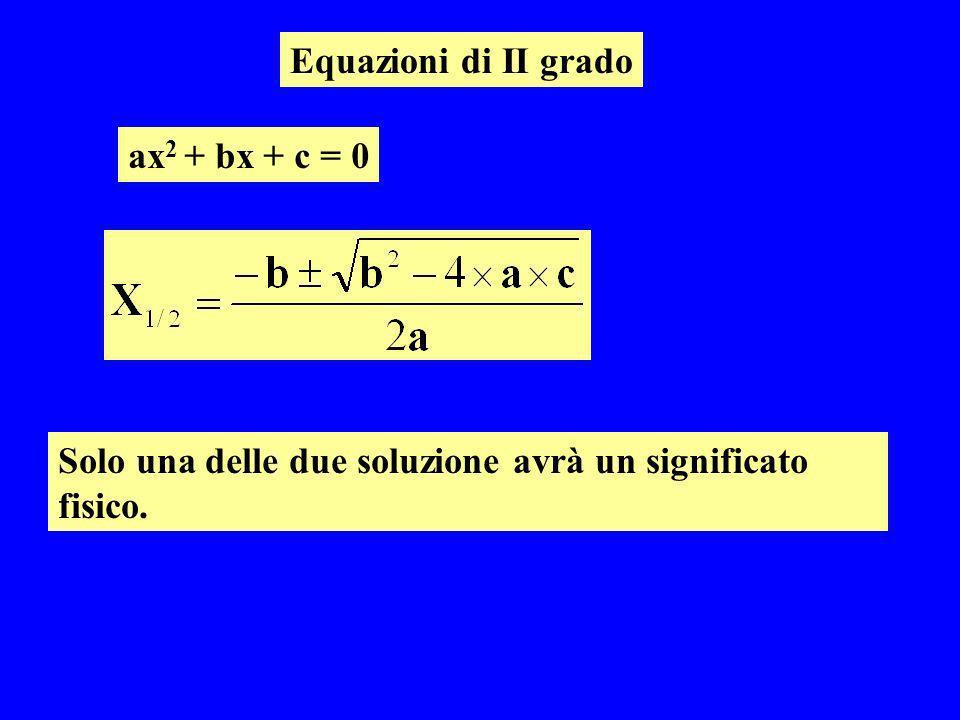 Equazioni di II grado ax2 + bx + c = 0 Solo una delle due soluzione avrà un significato fisico.