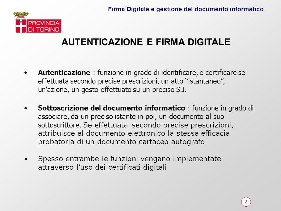 AUTENTICAZIONE E FIRMA DIGITALE