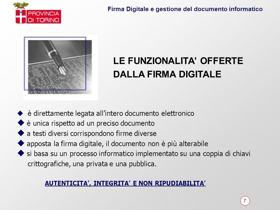 LE FUNZIONALITA' OFFERTE DALLA FIRMA DIGITALE