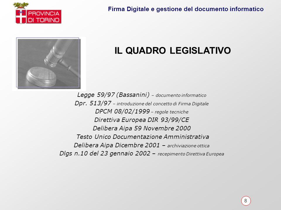 IL QUADRO LEGISLATIVO Legge 59/97 (Bassanini) – documento informatico
